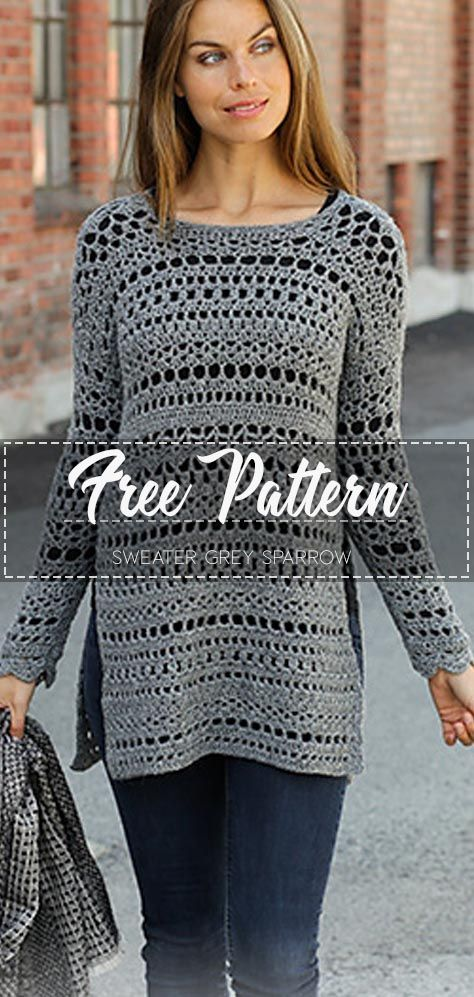 Sweater Grey Sparrow – Free Pattern #sweatercrochetpattern