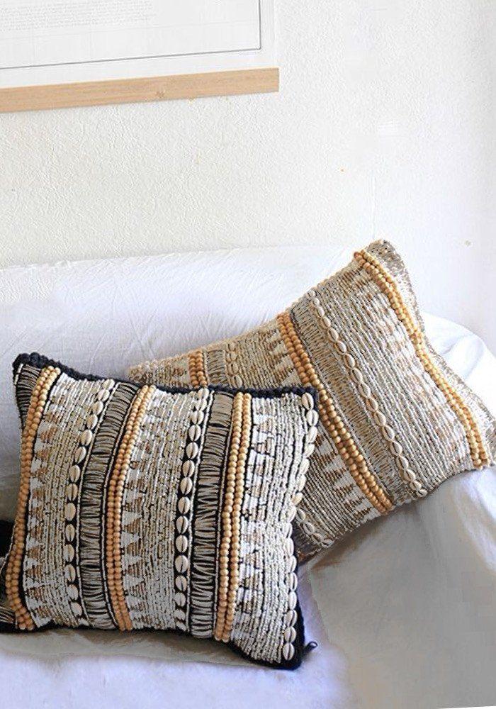 Beaded Macrame Cushion H O M E D E C O R Boho