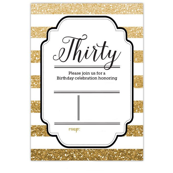 Nice FREE Template Free Printable Gold Glitter 30th Birthday Invitation