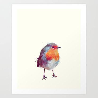 Winter Robin Art Print by Amy Hamilton | Society6