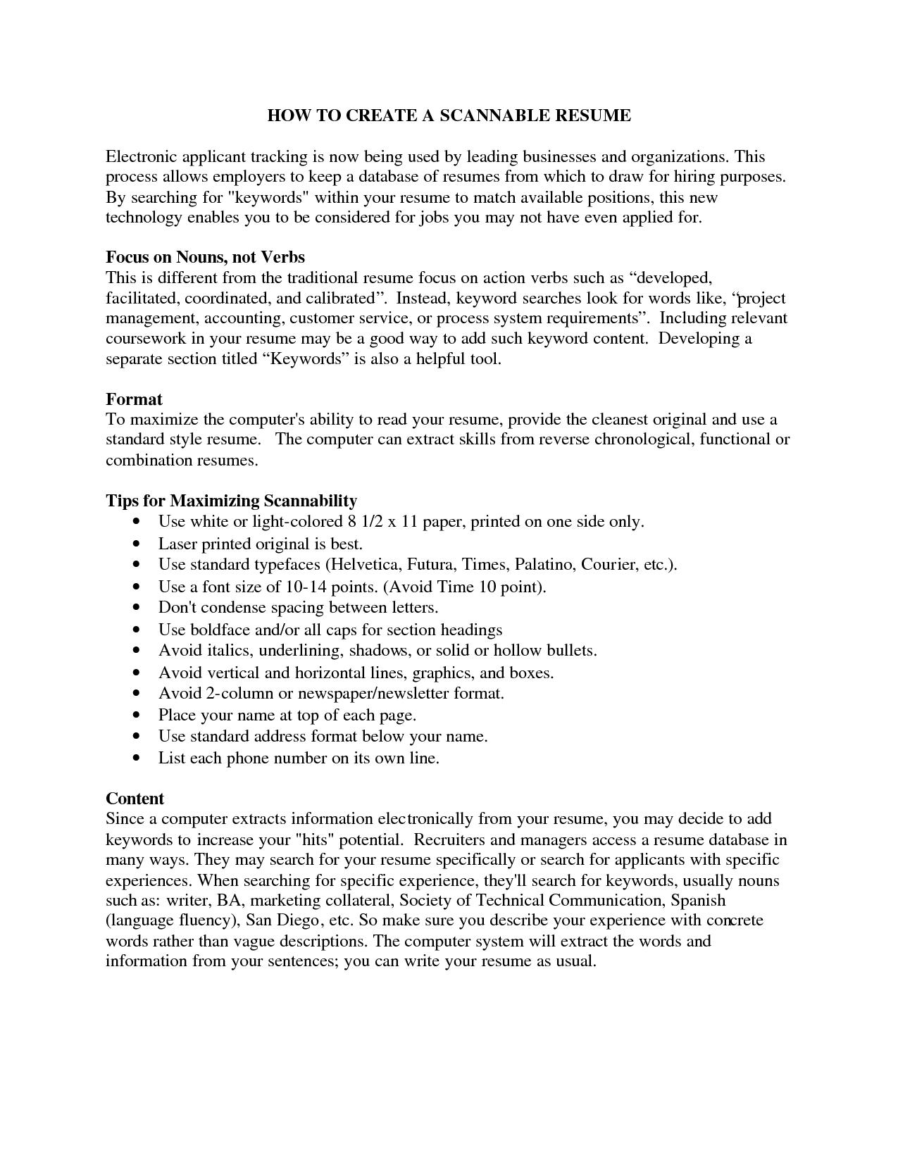 Resume Key Words Scannable Resume Keywords  Httpwwwresumecareerscannable