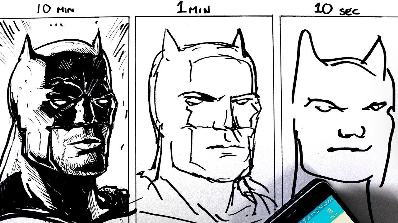 Batman Portrait Gezeichnet In 10 Min 1 Min Und 10 Sek