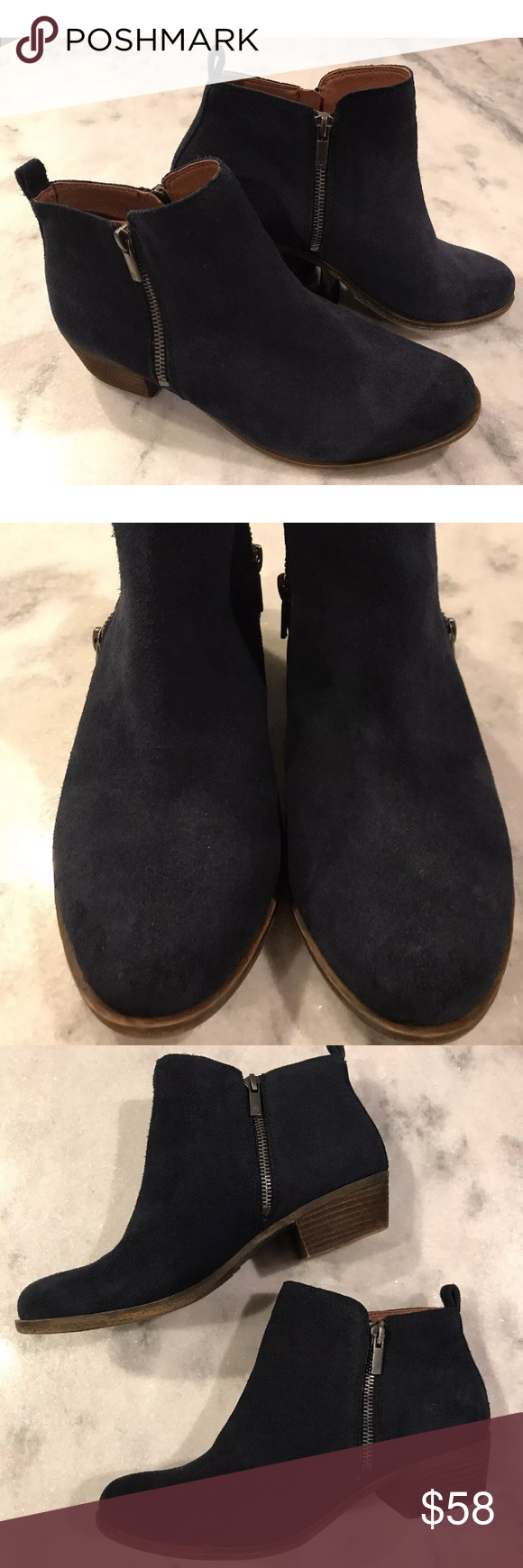 265b94f7a44 Weekend sale!! Basel Navy Blue Suede Ankle Bootie Lucky Brand Navy ...
