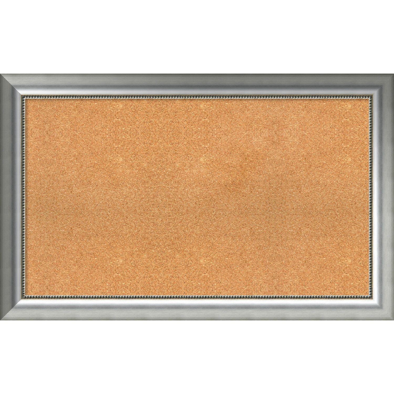 Framed Cork Board Choose Your Custom Size Vegas Curved Silver Wood