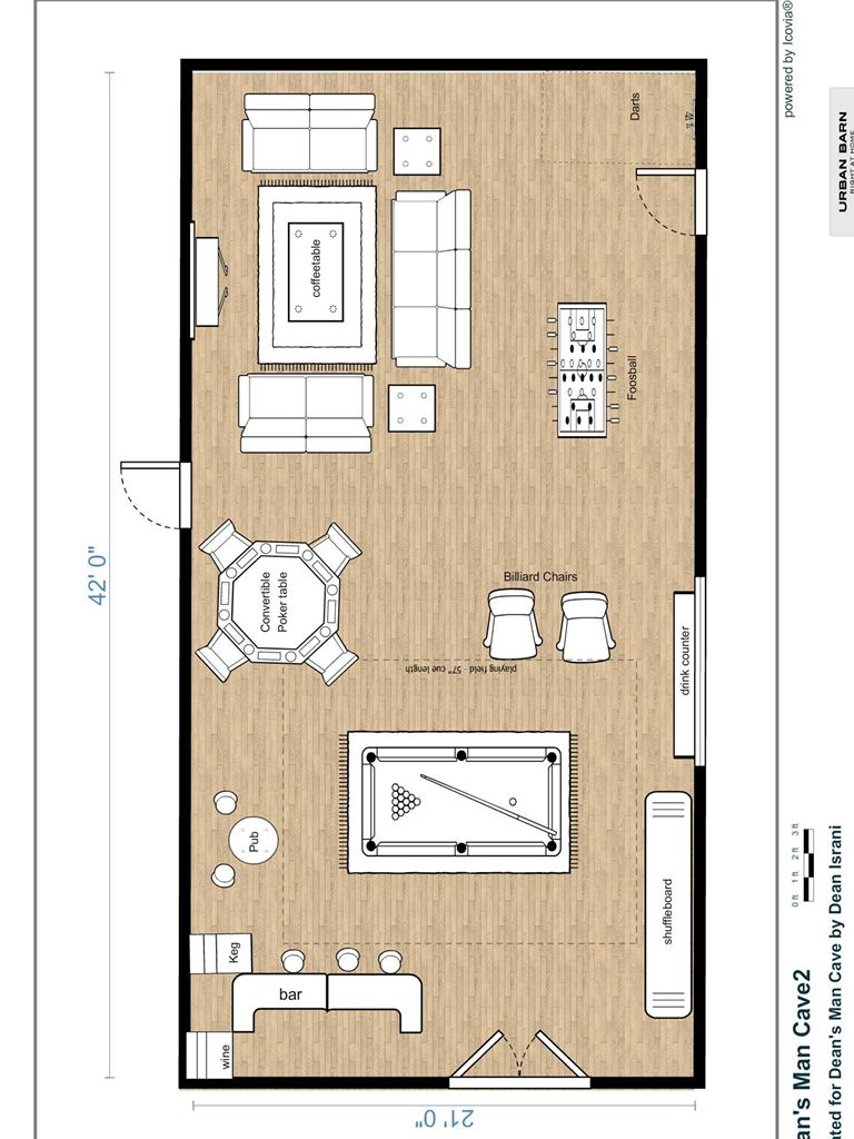 Man cave layout 2 man cave for Man cave floor plans