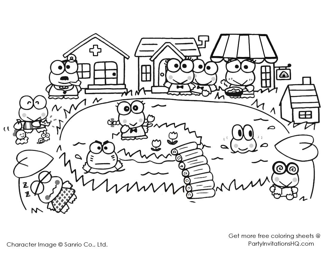 Hello Kitty And Keroppi Coloring Pages