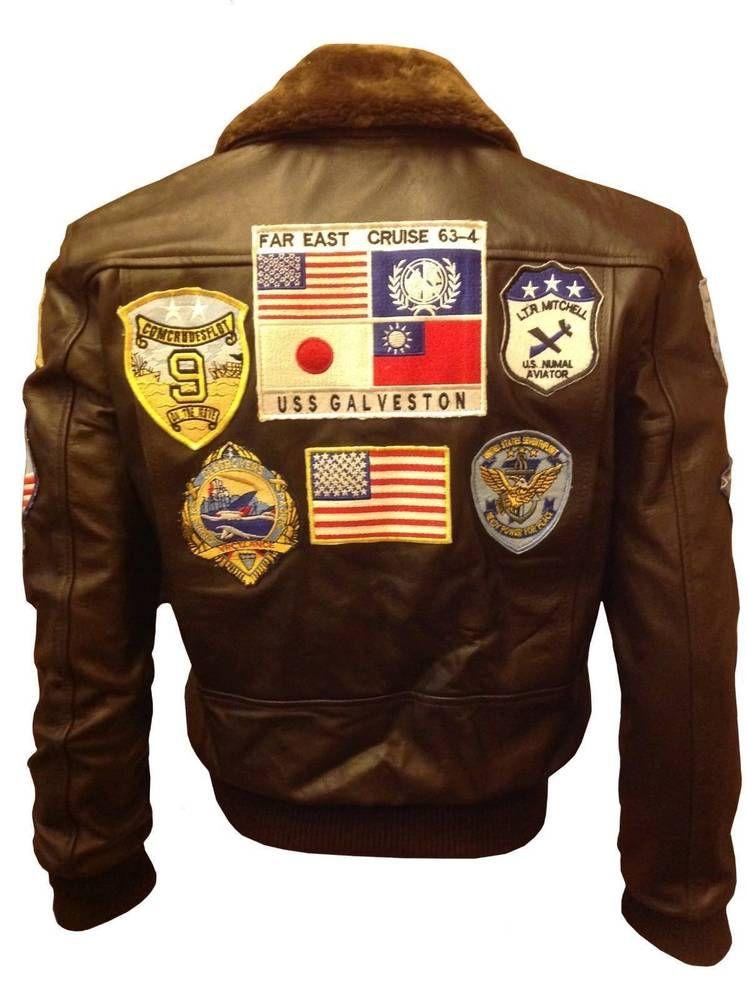 Mens G1 Aviator Navy Air Force Pilot Fur Collar Bomber Black Leather Jacket