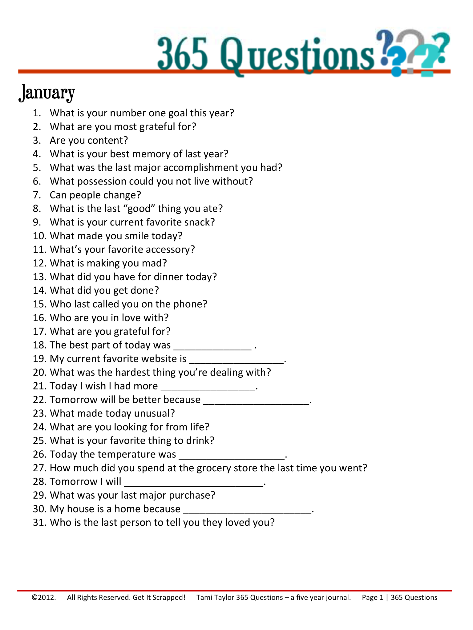 365 Questions January 1 12