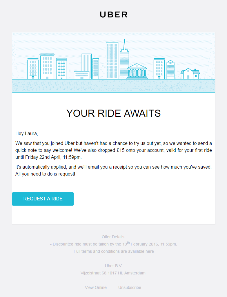 Uber re-engagement email to customers who have signed up but not ...