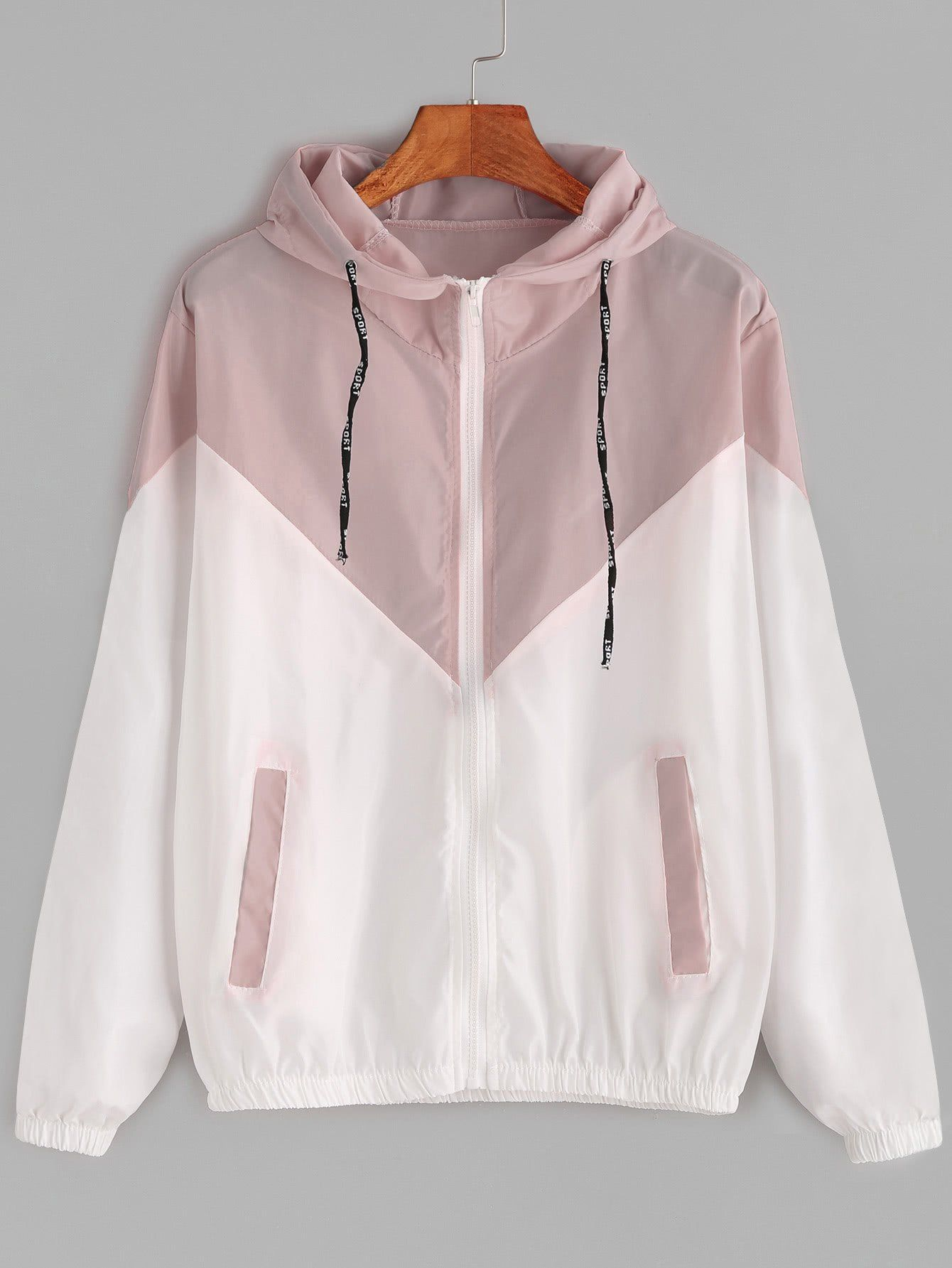Pink And White Drawstring Zip Up Hooded Jacket Windbreaker