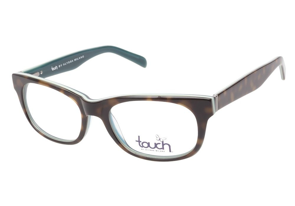 Touch by Alyssa Milano 109 Demi Teal eyeglasses are natural and casual. This demure cateye style has a havana exterior with a mint green middle layer and turquoise crystal interior. These glasses are from @CoastalDotCom