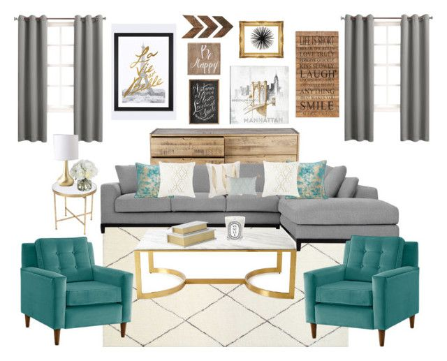 "grey, turquoise & gold living room""theofficialreginamarie on"