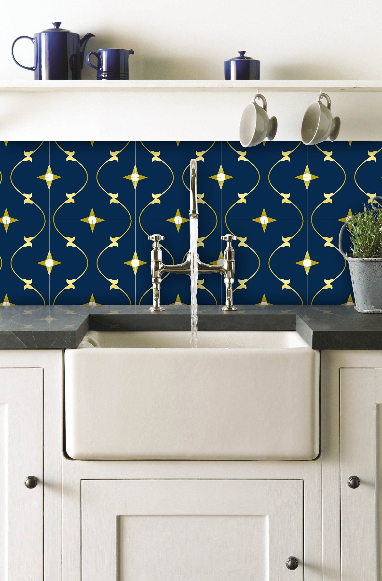 Tile Stickers Tile Decals For Kitchen Bathroom Wall Or Backsplash Waterproof And Removable Spanish02 Vinyl Wall Tiles Kitchen Tiles Design Blue Tile Wall