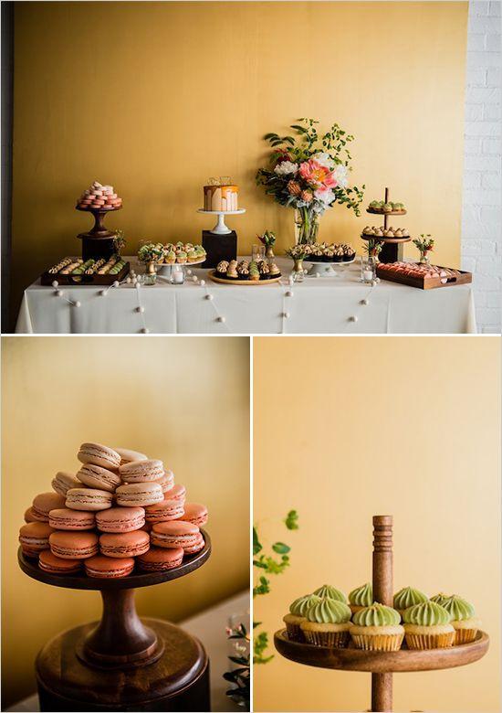 Los Angeles Geometric Wedding at Studio 1342 | Elegant dessert table ...