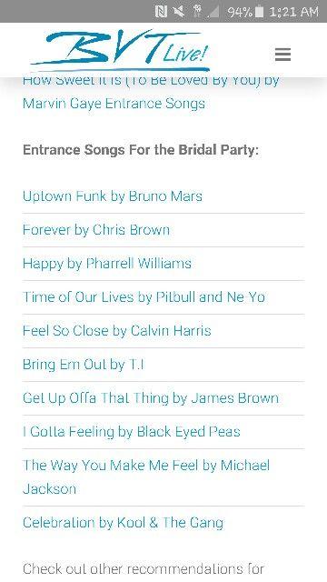 Entrance Songs For Bridal Party Wedding Wedding
