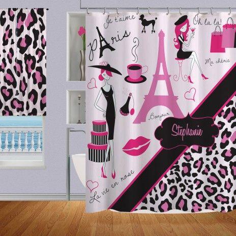 Pink Paris Shower Curtain With Black Cheetah Print Eiffel Tower