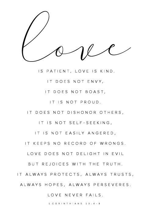 Love is patient, Love is kind, Bible Verse Print, 1 Corinthians 13 : 4-8, Bible…