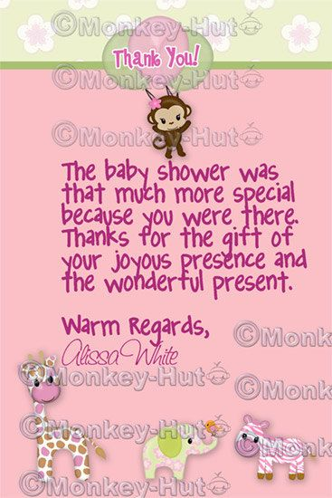 Jungle Jill Baby Shower Thank You CardNote Girl By Monkeyhut