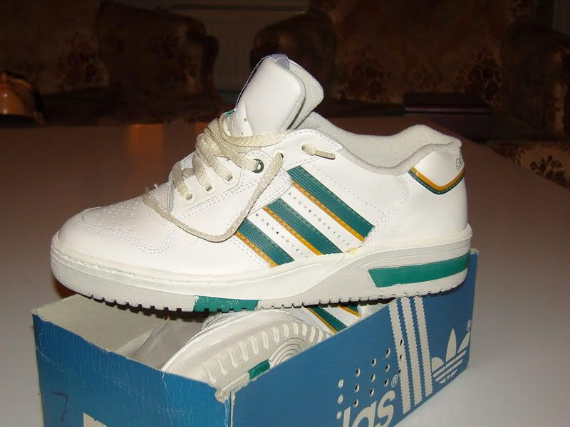best sneakers b7eec 21214 A pair of classic Adidas Stefan Edberg tennis shoes. He wore these at  Wimbledon.