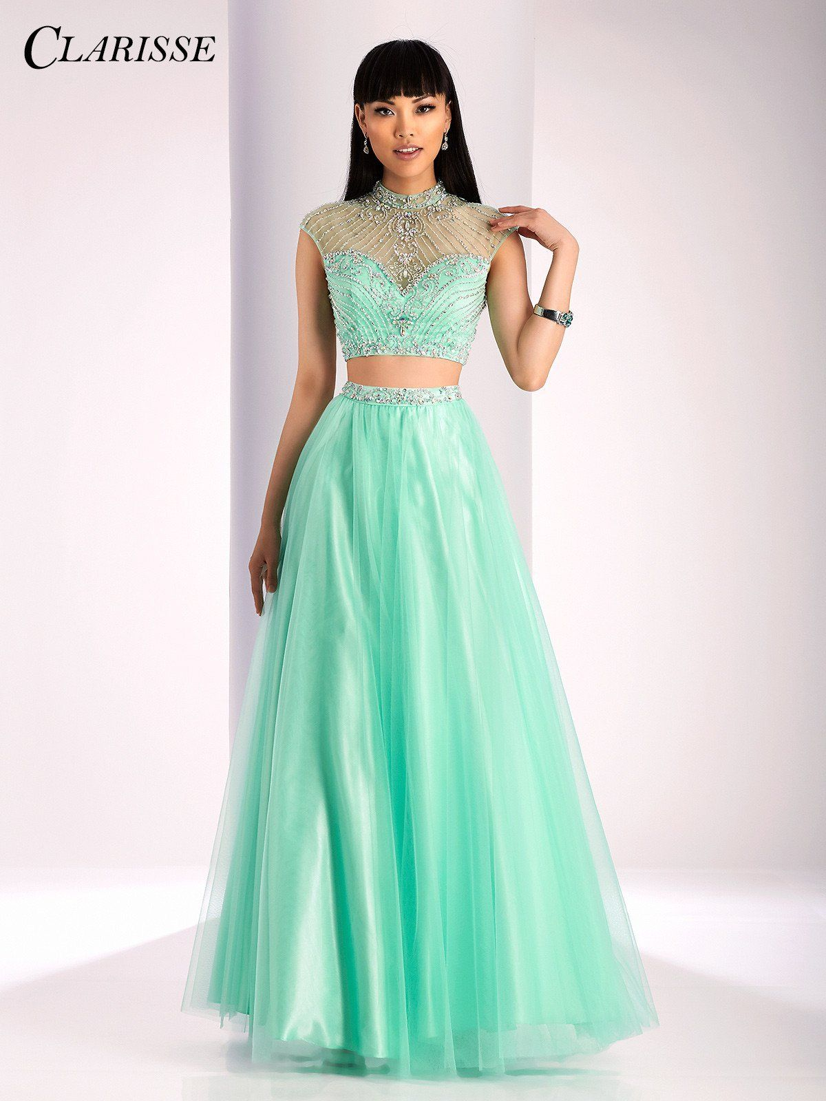 Clarisse prom mint high neckline twopiece prom dress