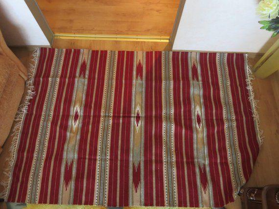 Handwoven striped red gray wool rug Kilim for floor Runner carpet sofa cover Rustic Deco, wedding gi