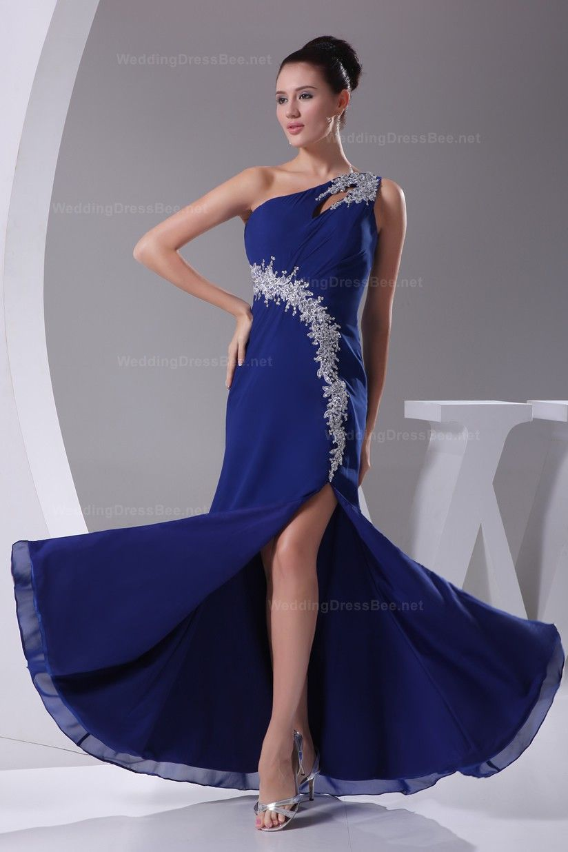 Sexy one shoulder floorlength slashed chiffon party dress