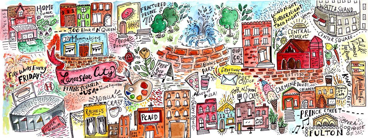 Downtown Lancaster Pennsylvania by Nicole Duquette City map