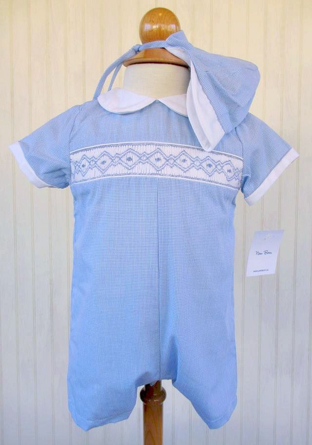 41a81f0402598 Petit Ami Boys Newborn Blue Gingham Smocked Romper with Cap  www.specialtykidswear.com