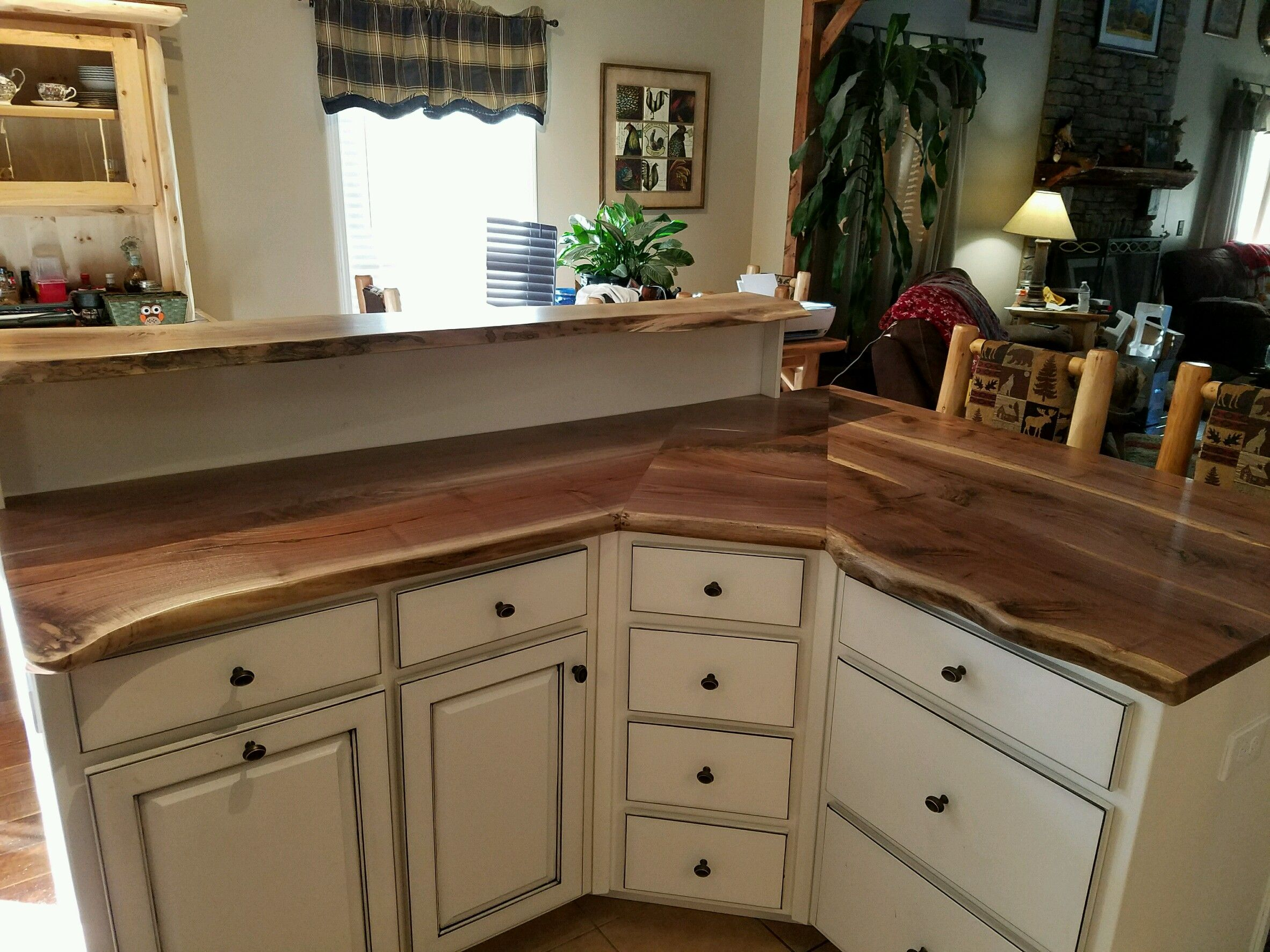 Walnut Live Edge Countertop On White Distressed Cabinets