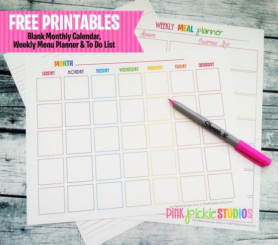 Free Printable Menu Planner, To Do List & Monthly Calendar From