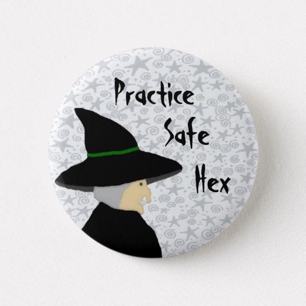 Practice Safe Hex Witch Button | Zazzle com | Halloween
