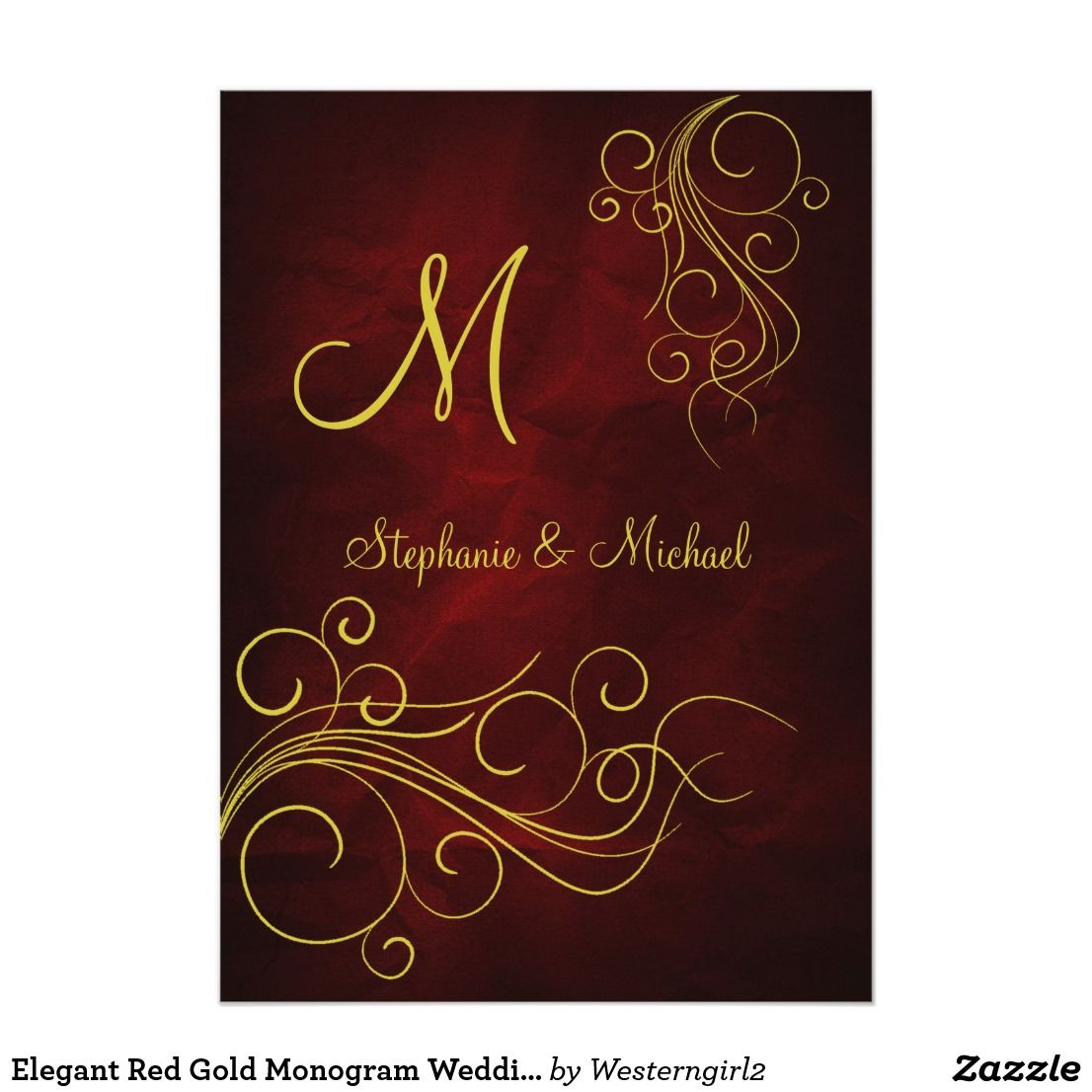 Elegant Red Gold Monogram Wedding Invitation | Elegant, Elegant ...