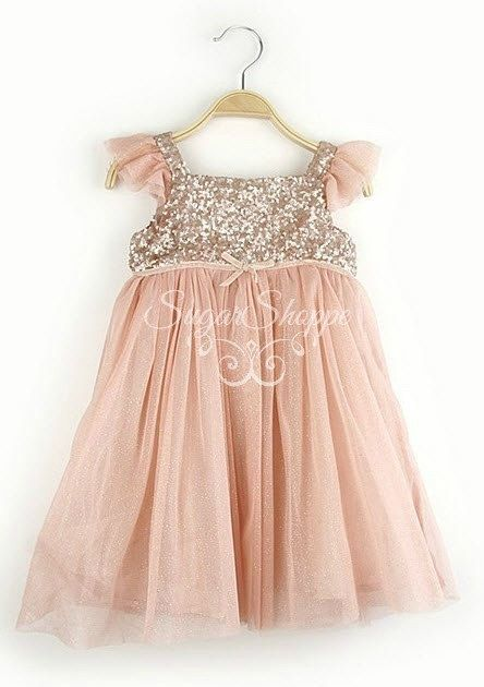 bc37c5f6531 Blush Chiffon and Gold Sequin Girls Dress