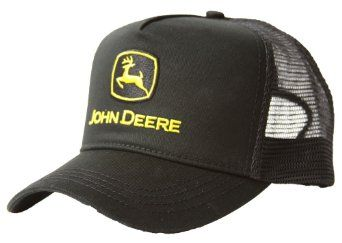 c27eaeff224 Amazon.com  Vintage Black Licensed John Deere Trucker Hat Cap  Clothing