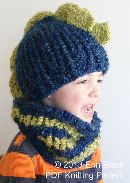 Chunky Dinosaur Hat And Cowl Pattern By Erin Black Dinosaur Hat
