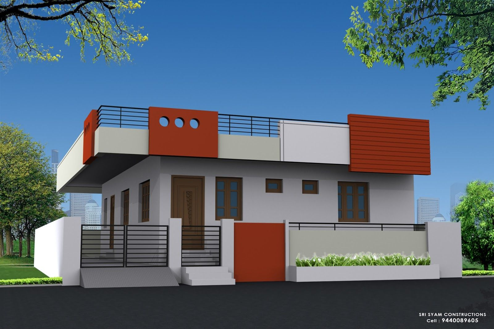 Single Floor Elevation Designs : Ne corner elevation of single floor house