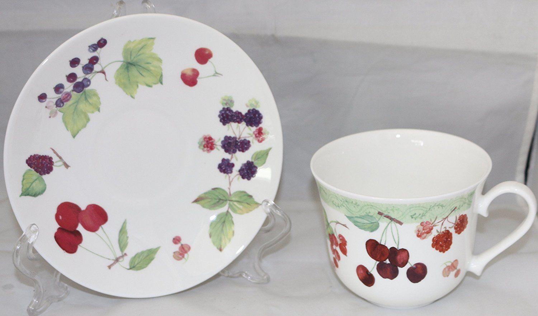 Roy Kirkham Berries And Cherries Jumbo Breakfast Cup Saucer Coffee Tea