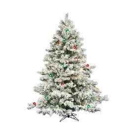 Vickerman 6.5-Ft Pre-Lit Alaskan Pine Flocked Artificial Christmas Tre