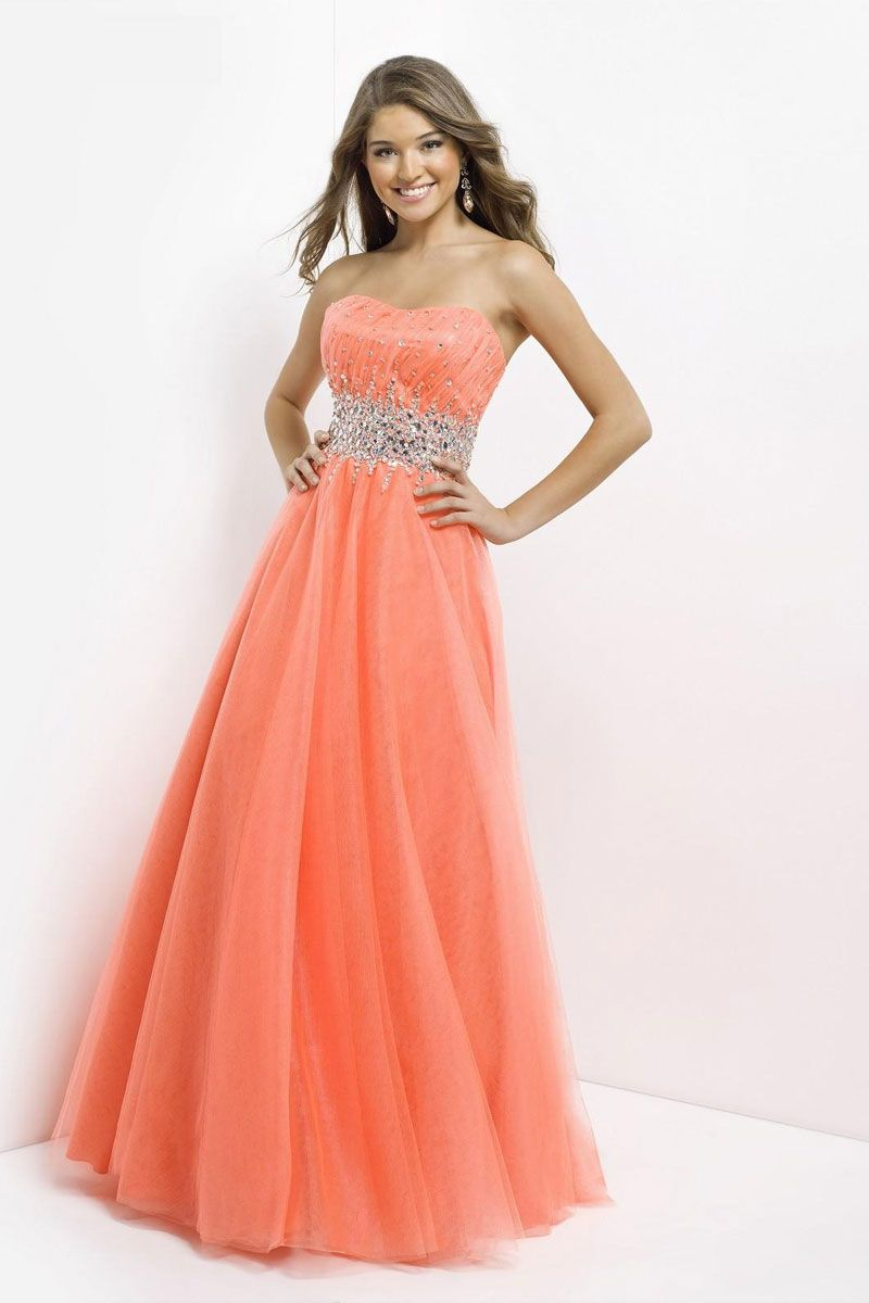 natural waist long princess tulle strapless prom dress - gopromdres.com