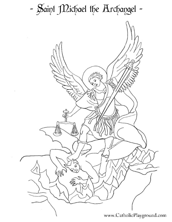 Saint Michael The Archangel Coloring Page Catholic Playground