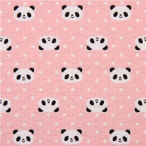 Pink Panda Seersucker Poplin Fabric Cosmo Japan Panda Wallpapers Pink Panda Pattern Paper