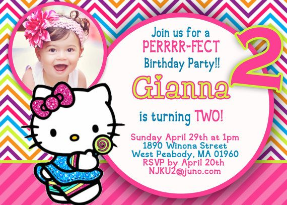 Hello Kitty Invitation by 123invites on Etsy 1200 – Custom Hello Kitty Birthday Invitations
