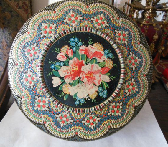 Floral Mosaic Tin Beautiful Floral Central Design With