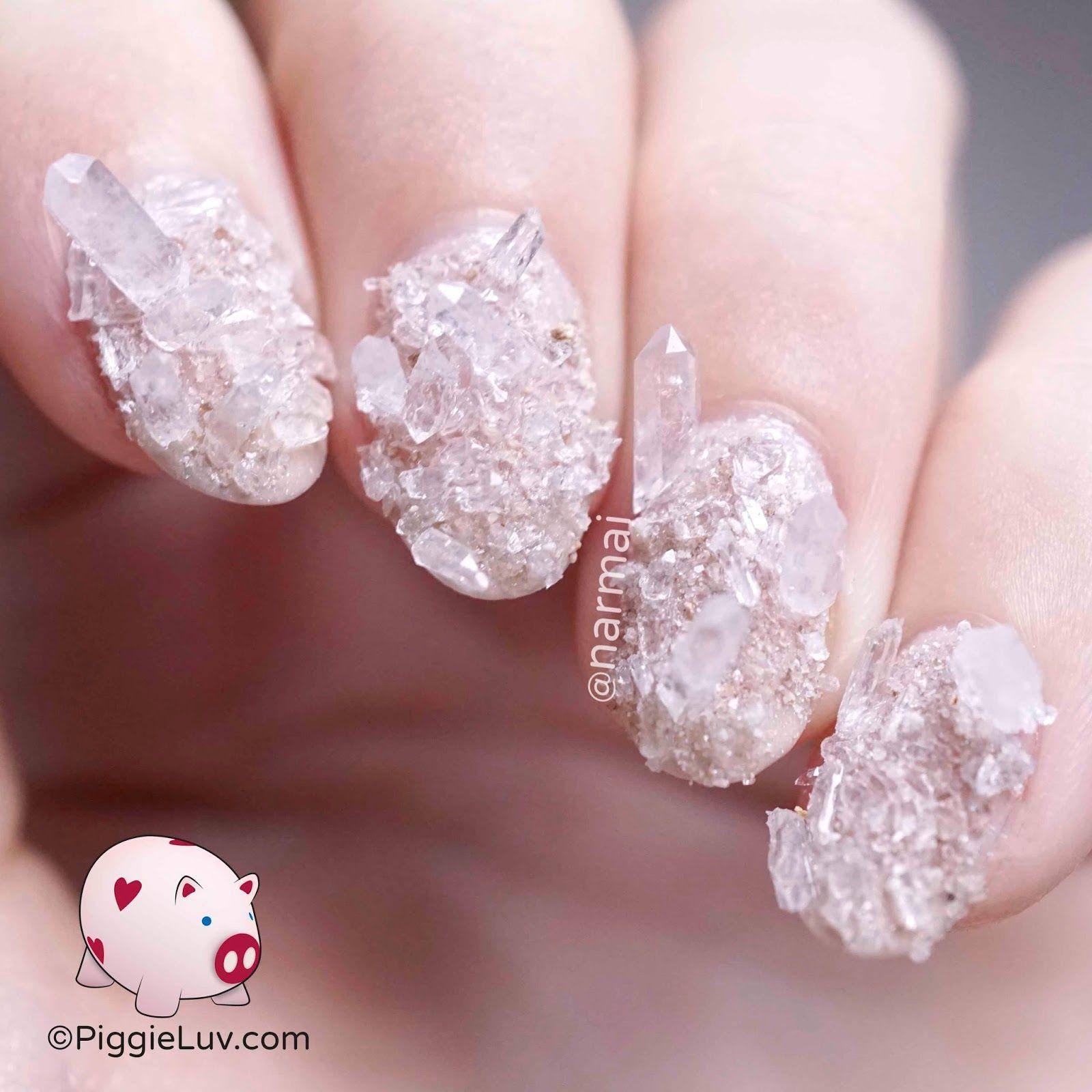 Rock crystal/quartz nail art