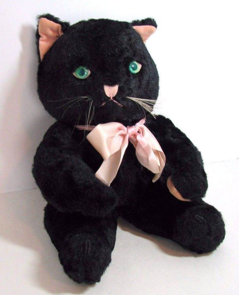 Vintage Knickerbocker Toy Plush Black Cat Kitty Kuddles Stuffed