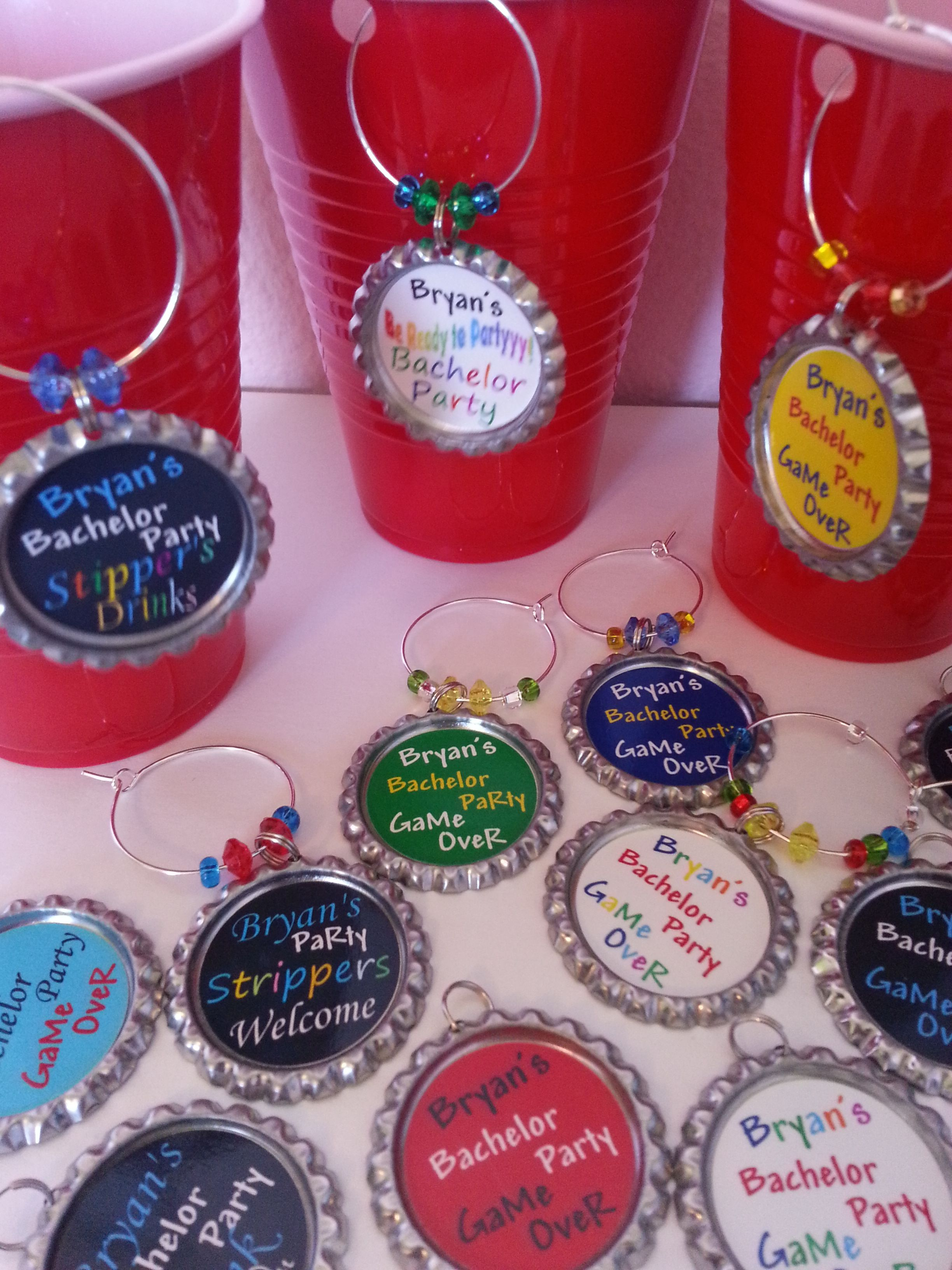 Personalized Bachelor Party Solo cup charms, Pins a Set of 15 ...