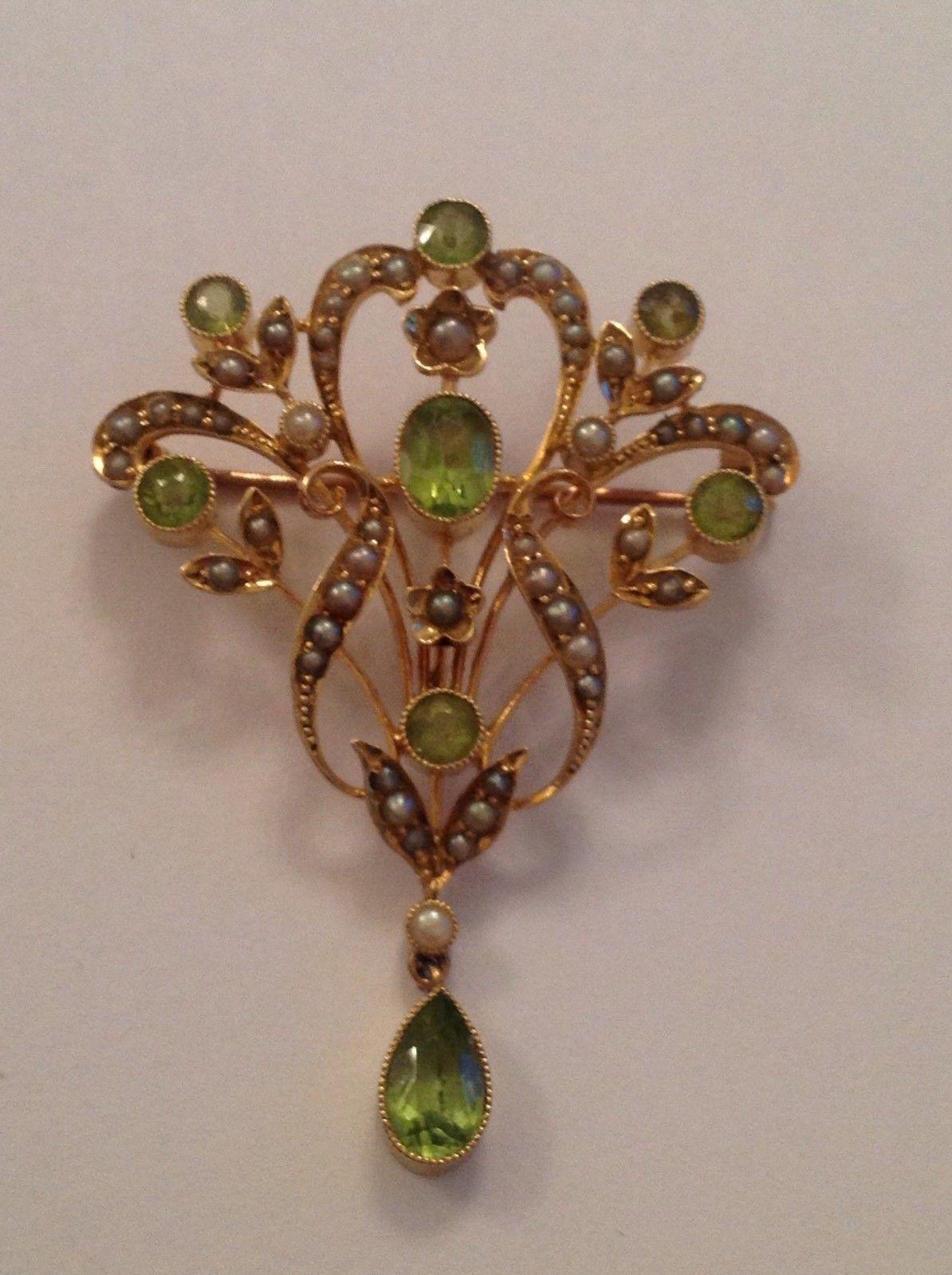 Antique Art Nouveau 15ct Gold Peridot Seed Pearl Set Pendant Brooch Ebay 브로치 쥬얼리