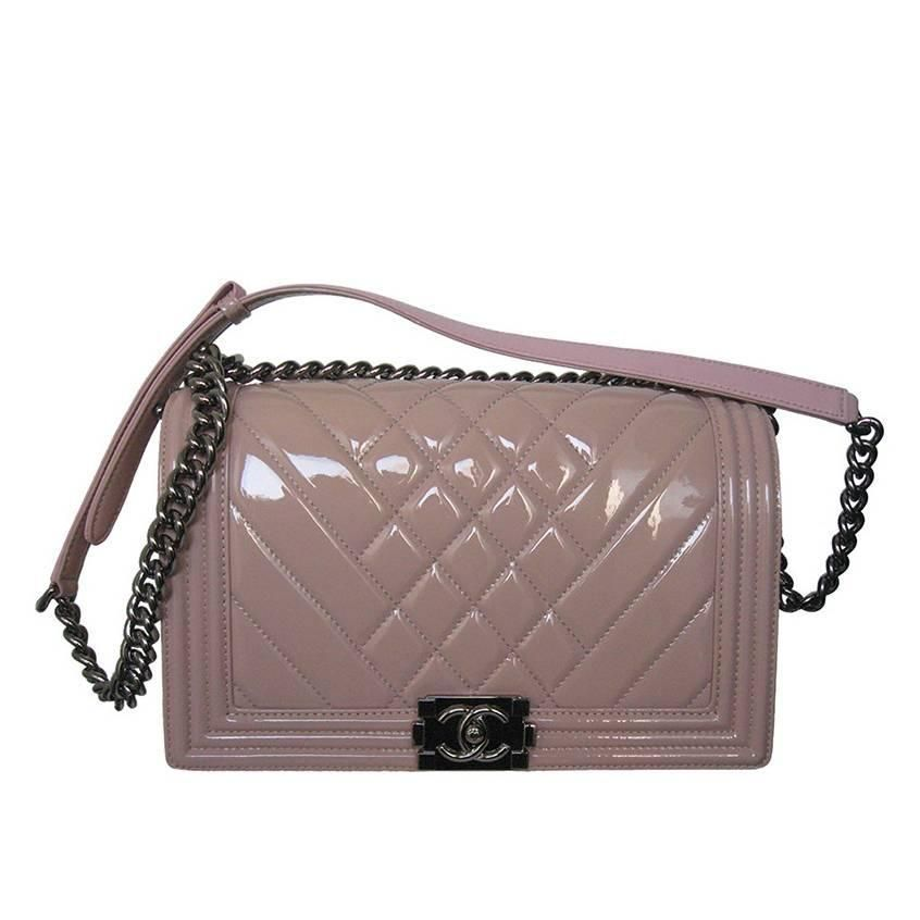 040732b97a4 Chanel Pink Patent Leather Medium Chevron Quilted Boy Bag   My ...