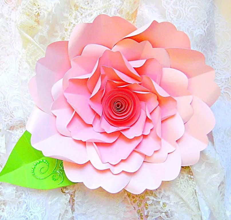DIY Large Paper Flower Tutorial with templates & Rosette | paper ...