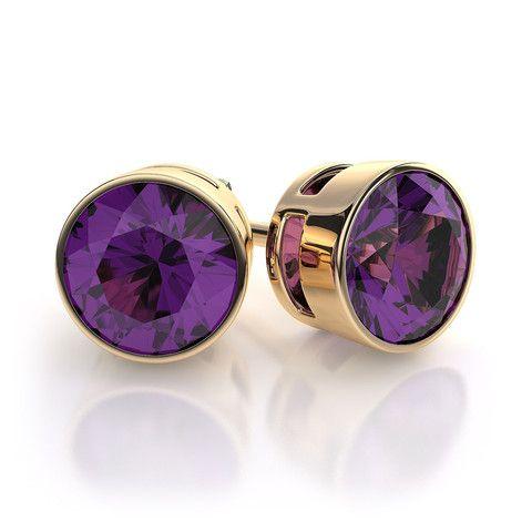 25ed8ebd596857 18 Karat Yellow Gold Bezel Set Amethyst Earrings by Mrs. Jones | Mrs. Jones  & Company